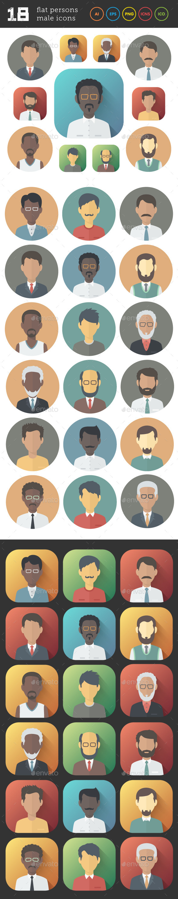 Flat Icons Set of Male Persons