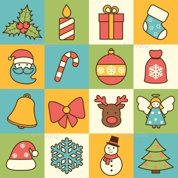 GraphicRiver Christmas Icons Set 9361287