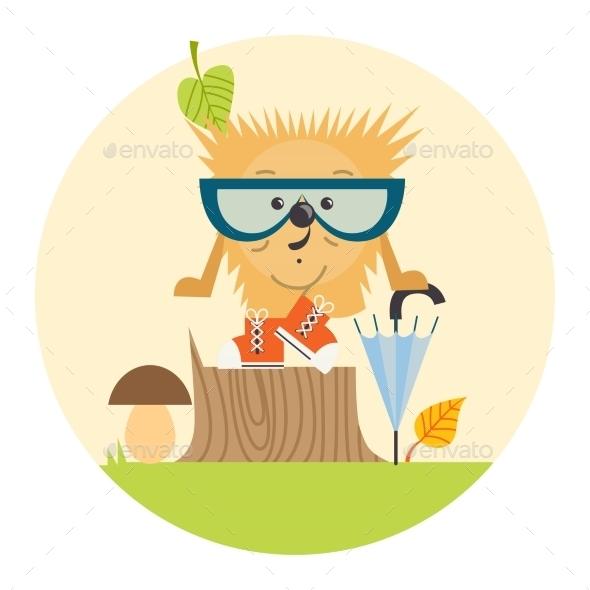 GraphicRiver Cartoon Hedgehog Hipster Style 9361300