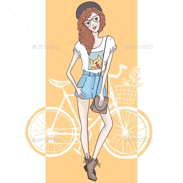 GraphicRiver Hipster Fashion Girl 9361303