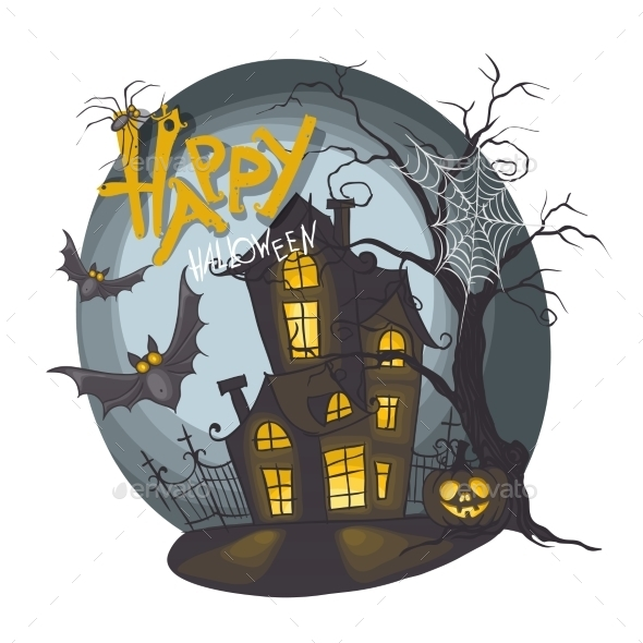 GraphicRiver Halloween Monster House with Bat and Pumpkins 9361309