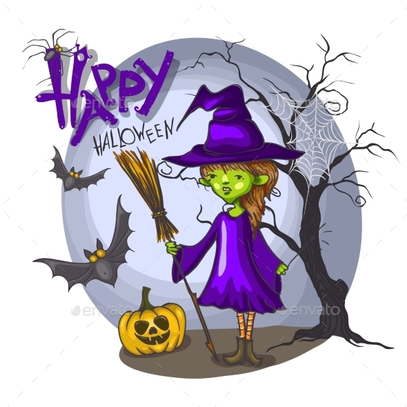GraphicRiver Cartoon Witch Girl with Bat Broom and Pumpkins 9361313