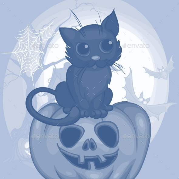 GraphicRiver Halloween Background with Cat 9361318