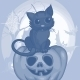 Halloween Background with Cat - GraphicRiver Item for Sale