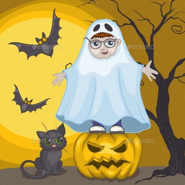 GraphicRiver Little Ghost and Pumpkin Halloween Background 9361321