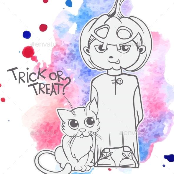 GraphicRiver Cat and Pumpkin Costume 9361324