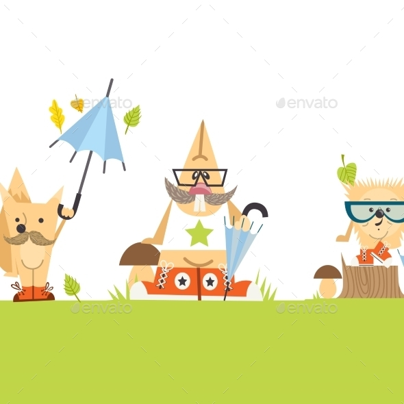 GraphicRiver Cartoon Animals Hipster Style 9361352
