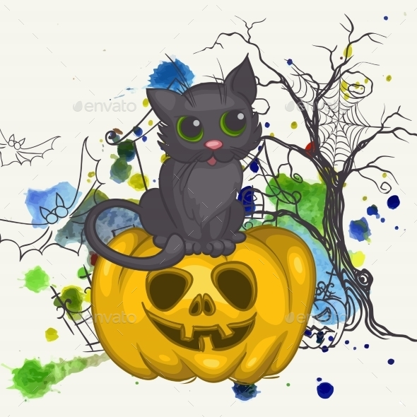 Halloween Background with Pumpkins and Cat