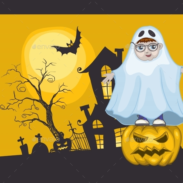 GraphicRiver Little Ghost and Pumpkin Halloween Background 9361401