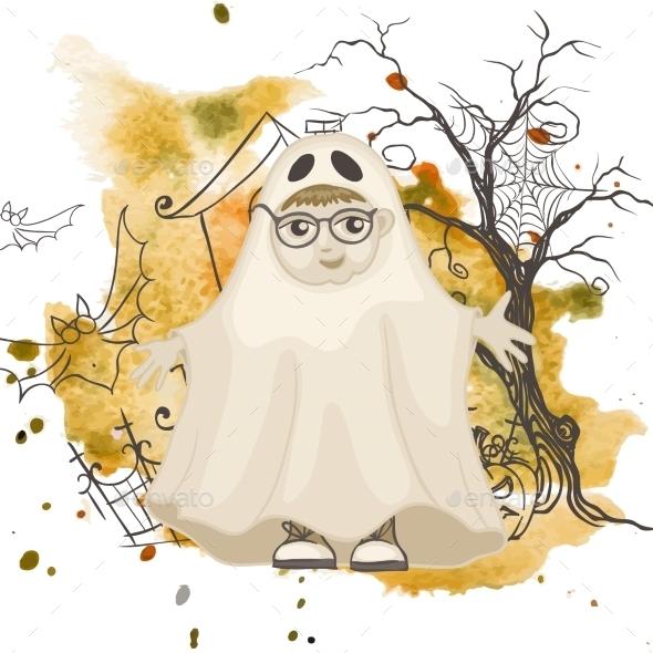 Little Ghost Halloween Background