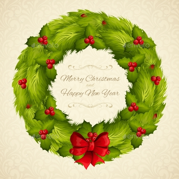 GraphicRiver Christmas Wreath Postcard 9361513