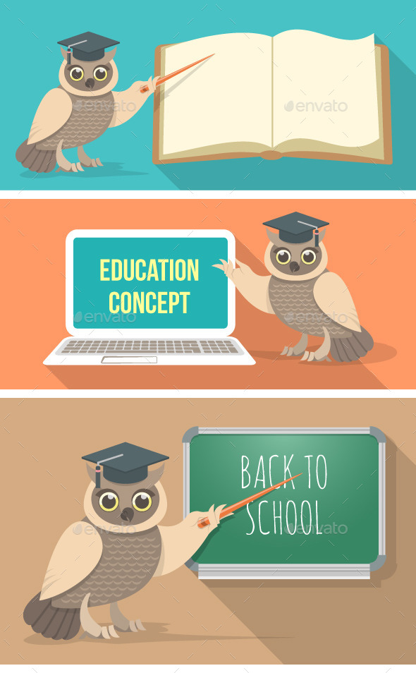 GraphicRiver Wise Owl with Book Laptop and School Board 9361543