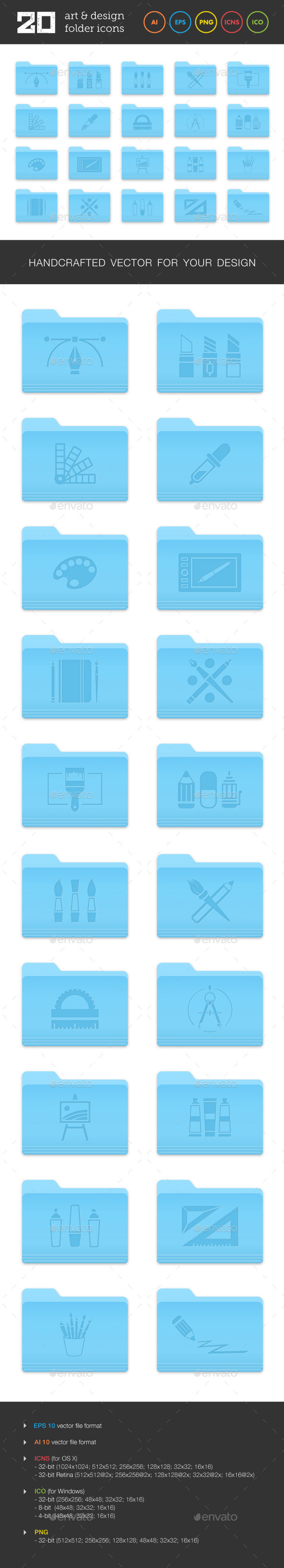 Art and Design Folder Icons Set 1