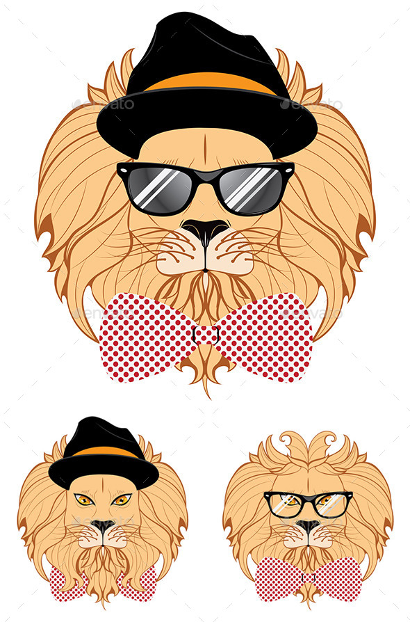 GraphicRiver Lion Hipster 9361808