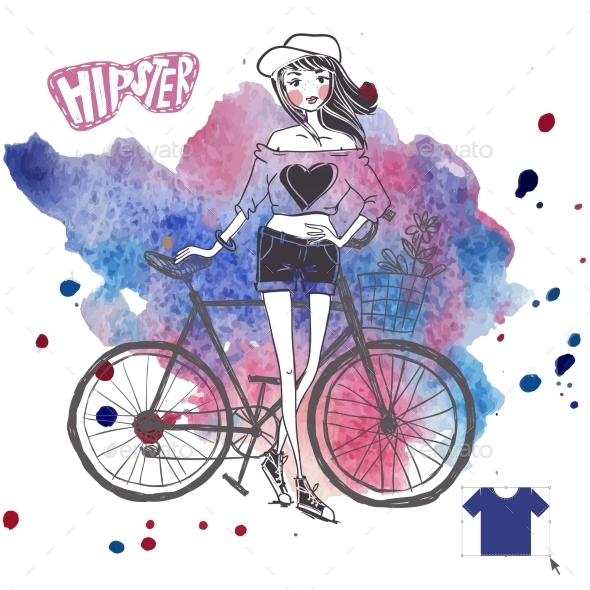 GraphicRiver Hipster Teenage Girl on her Vintage Bike 9362220