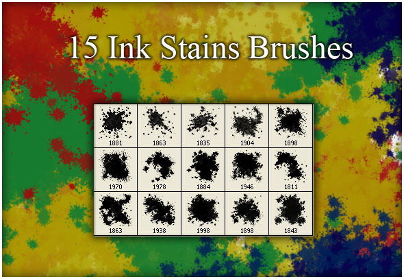 GraphicRiver 15 Ink Stains Brushes 9362828