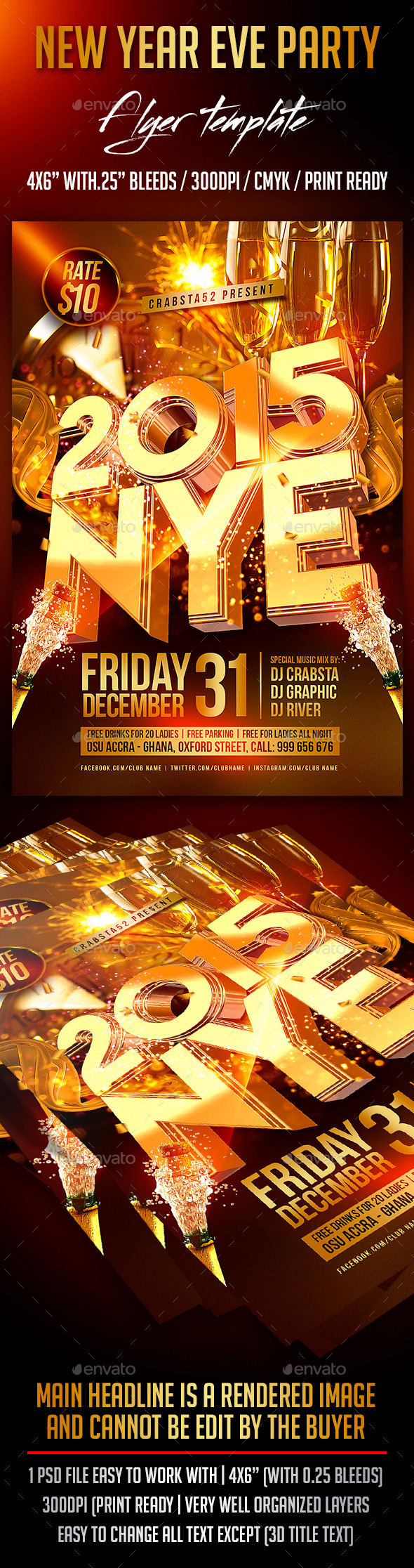 GraphicRiver NYE Party Flyer Template 9364095