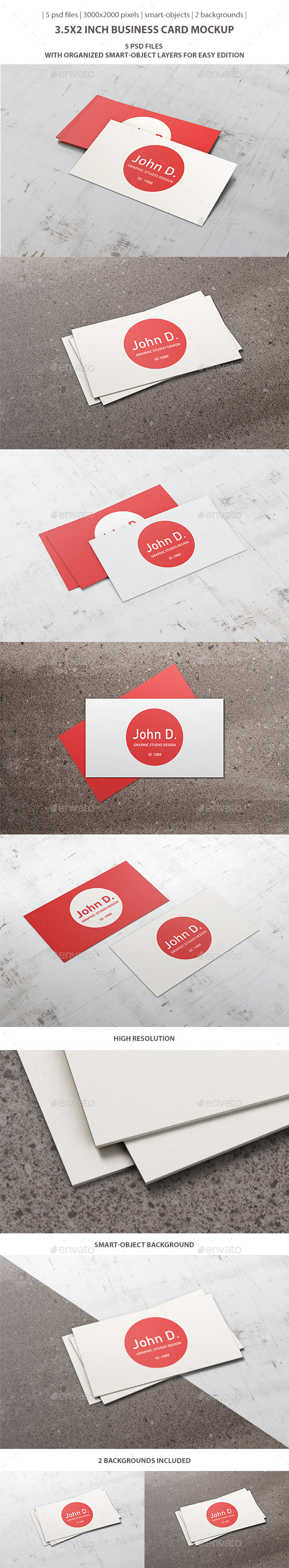 GraphicRiver 3.5x2 inch Business Card Mockup 9364584
