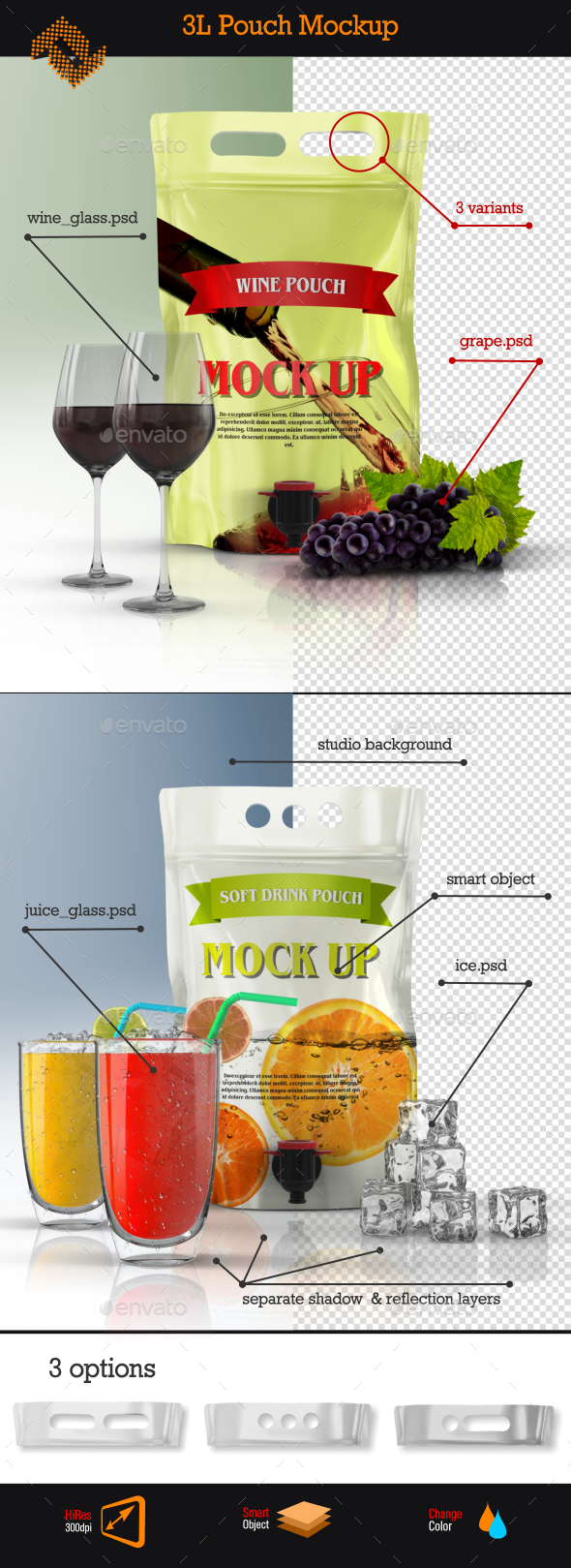 GraphicRiver Stand Up Wine Pouch Bag Mockup 9365571