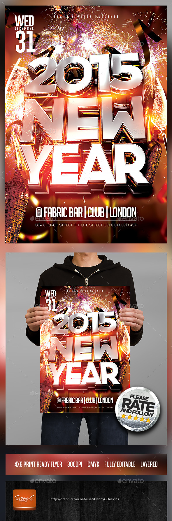 2015 New Year Flyer Template PSD