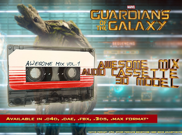 3DOcean Guardians of the Galaxy Awesome Mix Audio Cassette 9365649