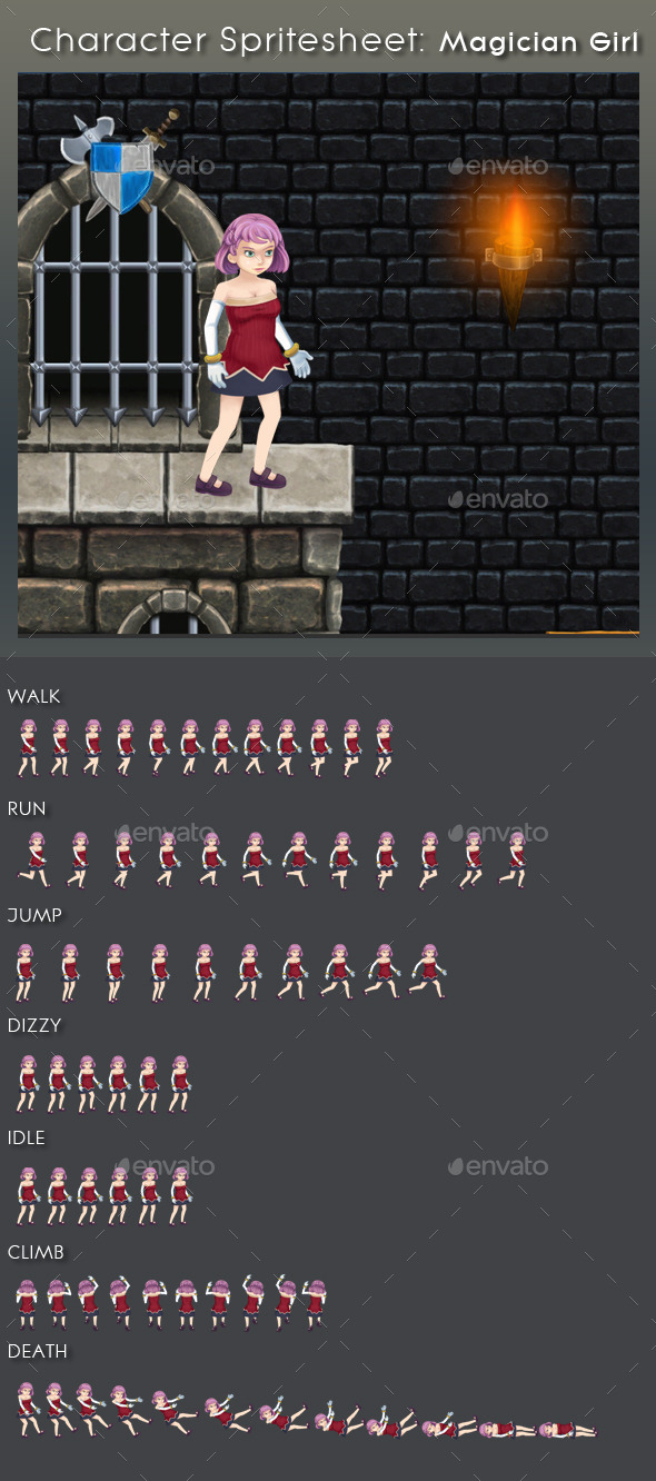 GraphicRiver Character Spritesheet Magician Girl 9365910