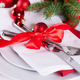Romantic red Christmas table setting - PhotoDune Item for Sale