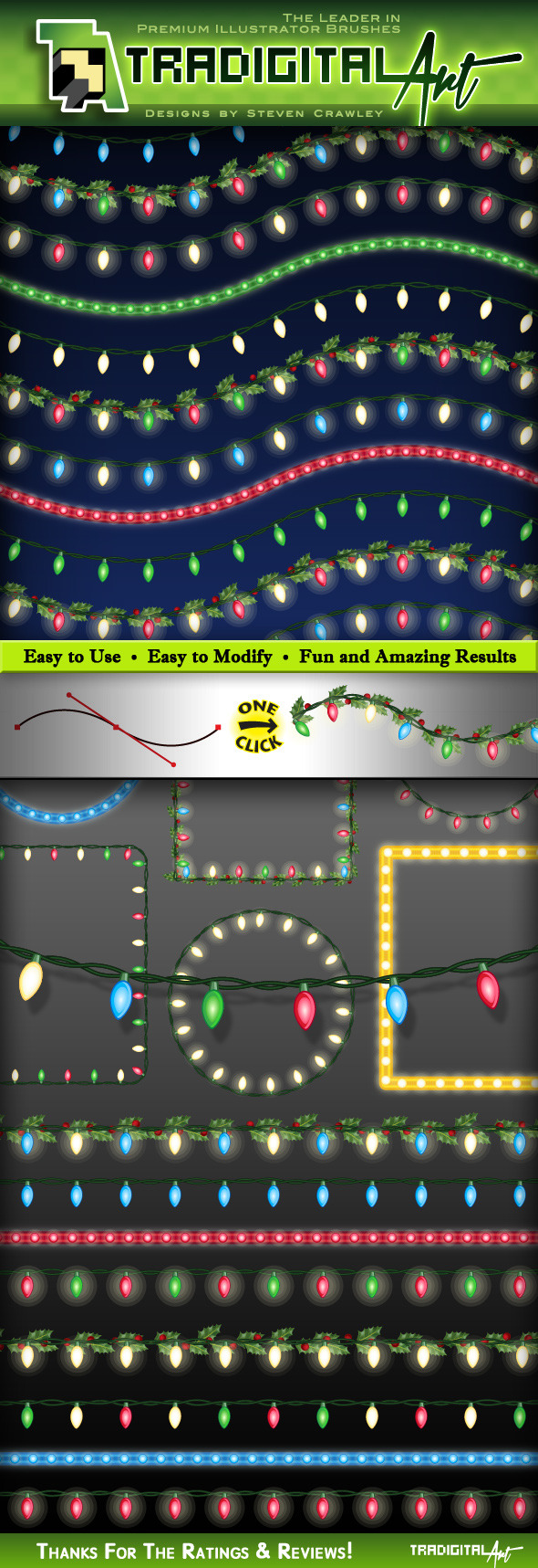 GraphicRiver Christmas Lights Brushes Set 2 9366506