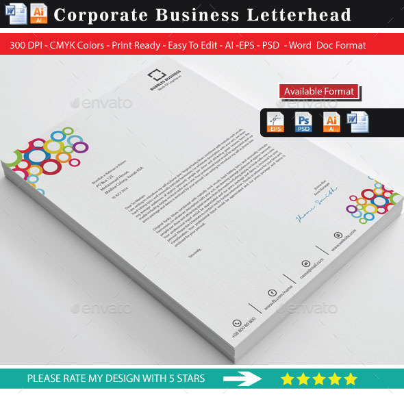GraphicRiver Colourful Rings Letterhead 9367322