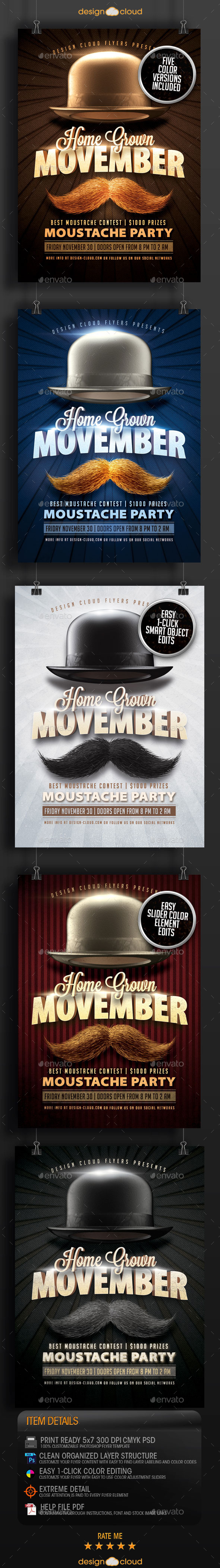 Movember Home Grown Moustache Party Flyer Template