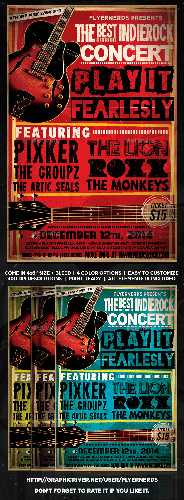 GraphicRiver Indie Rock Concert Flyer 9367731