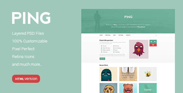 ThemeForest Ping Minimal Responsive HTML Template 9298259