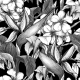 Monochrome Seamless Pattern with Exotic Flowers - GraphicRiver Item for Sale