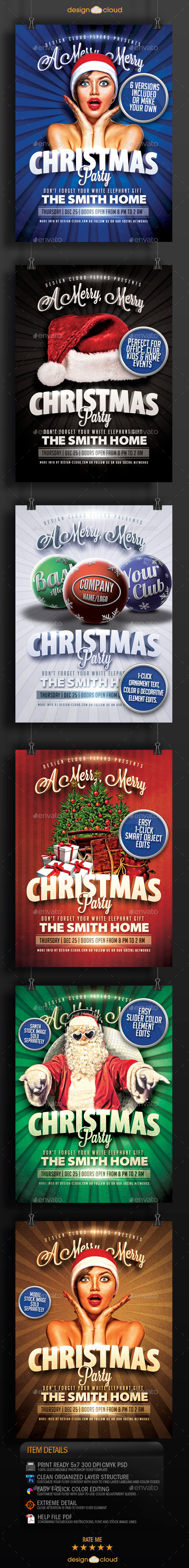 GraphicRiver Hip Christmas Party Flyer Template Collection 9369812