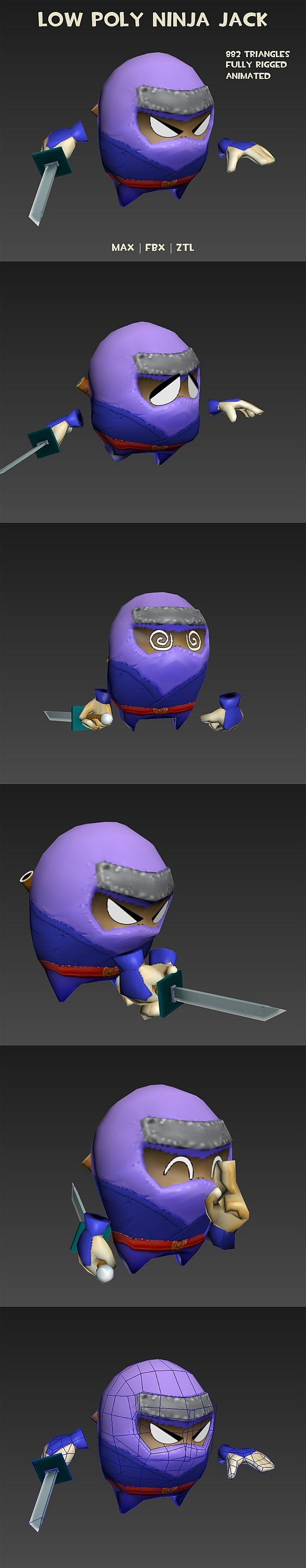 Low poly ninja Jack - animated - 3DOcean Item for Sale