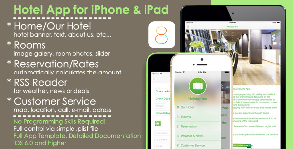 Hotel App Full iOS Template for iPhone/iPad