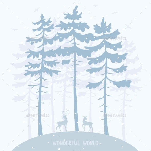 GraphicRiver Pine and Deer 9370597