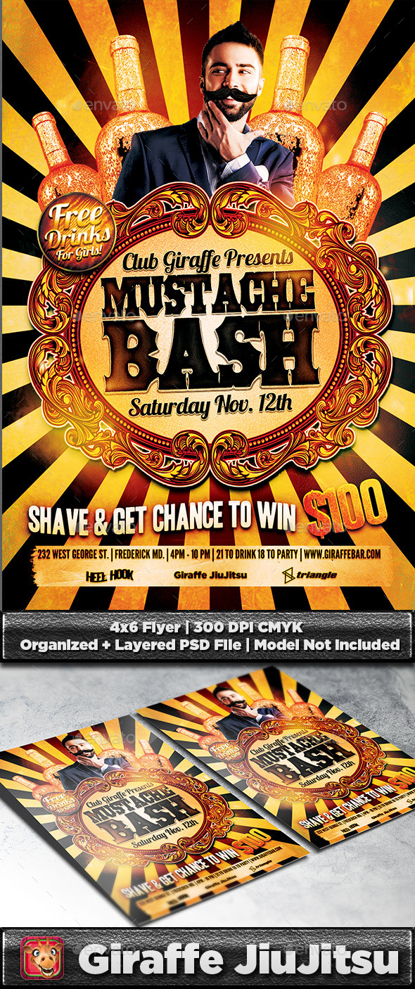 GraphicRiver Mustache Bash Flyer Template 9314263