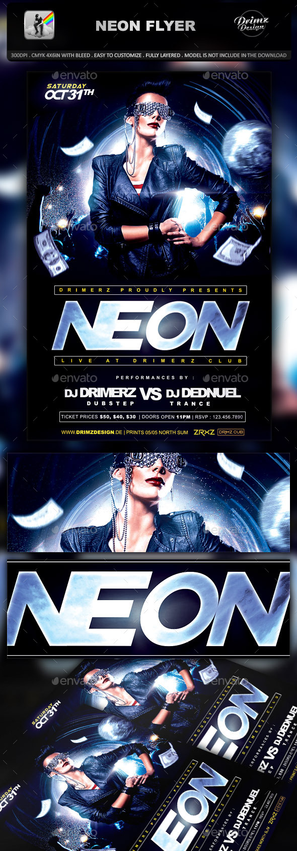 GraphicRiver Neon Flyer 9372350