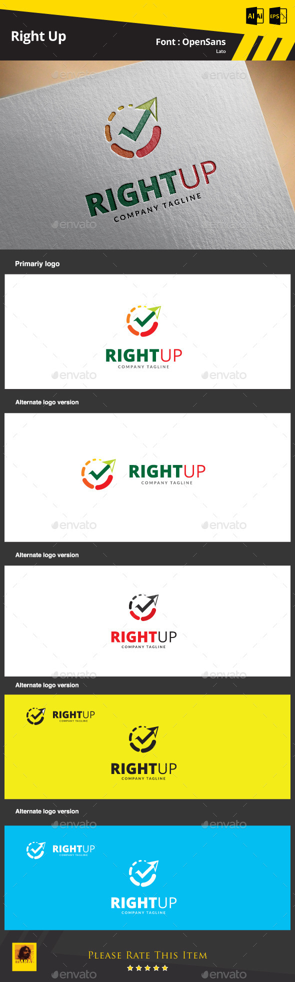 GraphicRiver Right Up Logo Template 9372439
