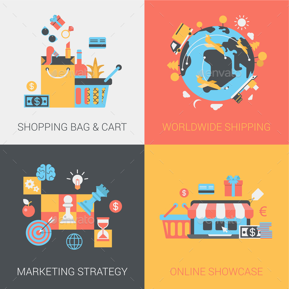 GraphicRiver Shopping Shipping Marketing Strategy and Online Store Flat 9373526