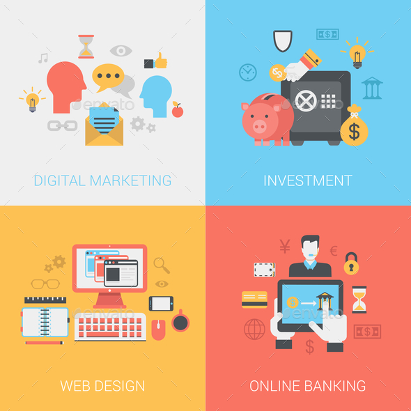 GraphicRiver Digital Marketing Investments Web Design Online Banking Concept 9373527