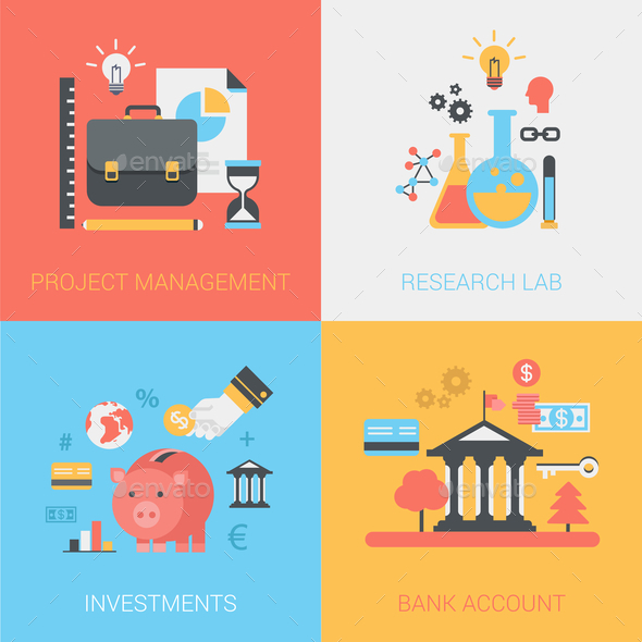 GraphicRiver Project Management Research Lab Investments Bank Account Flat 9373528