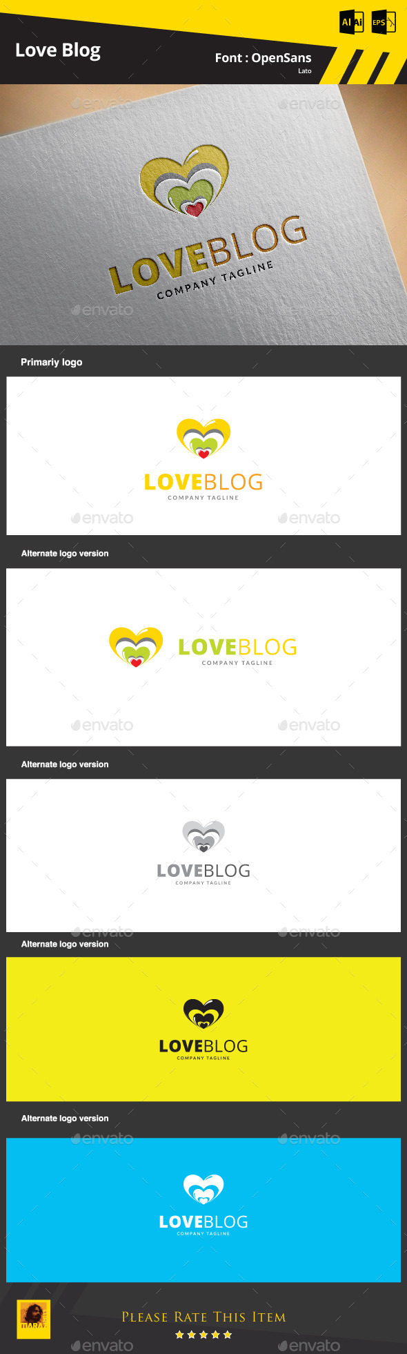 GraphicRiver Love Blog Logo Template 9374610