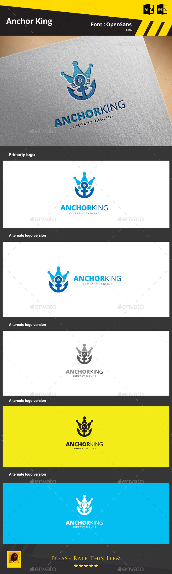 GraphicRiver Anchor King Logo Template 9374623