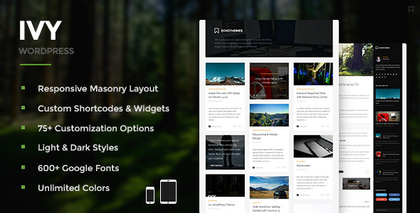 Ivy Responsive Masonry WordPress Theme