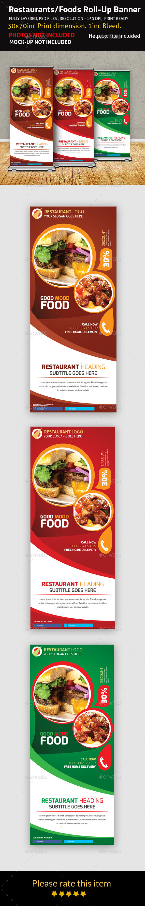GraphicRiver Restaurants Foods Roll-Up Banner 9374774