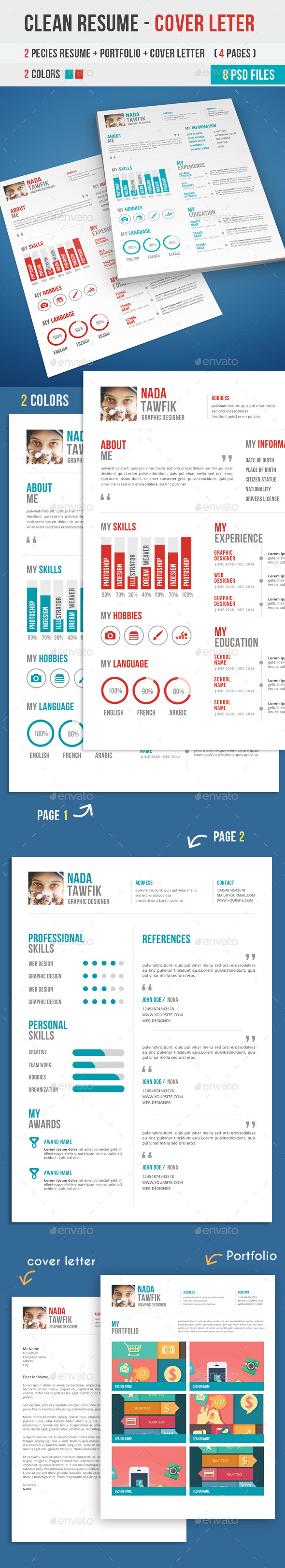 GraphicRiver Clean Resume Cover Letter 9374867