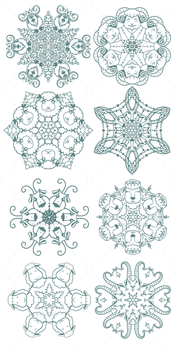 GraphicRiver Doodle Snowflakes 9375055