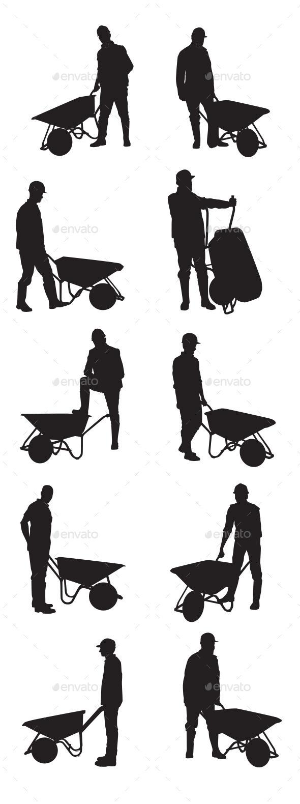 GraphicRiver People Using Wheelbarrow 9375445